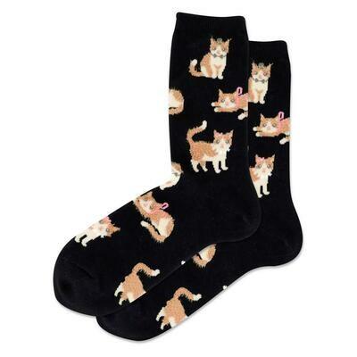 Women's Black Fuzzy Cat Crew Socks