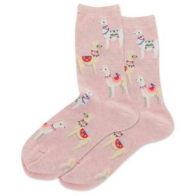 Women's Pink Alpacas Crew Socks