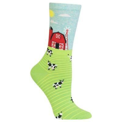 Women's Green Farm Scene Crew Socks