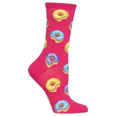 Women's Pink Donut Crew Socks