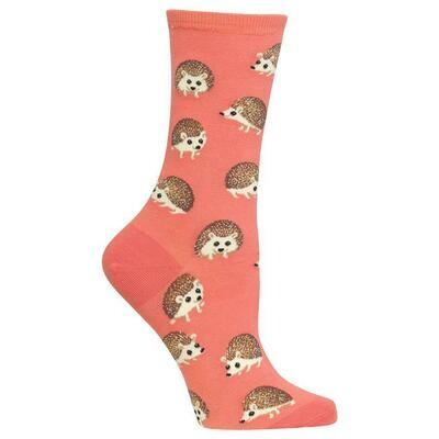 Women's Coral Hedgehog Crew Socks