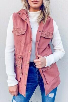 Terra Cotta Lace Pocket Vest