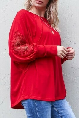 Red Lace Long Sleeve Top