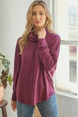 Plum Cowl Neck Sweater