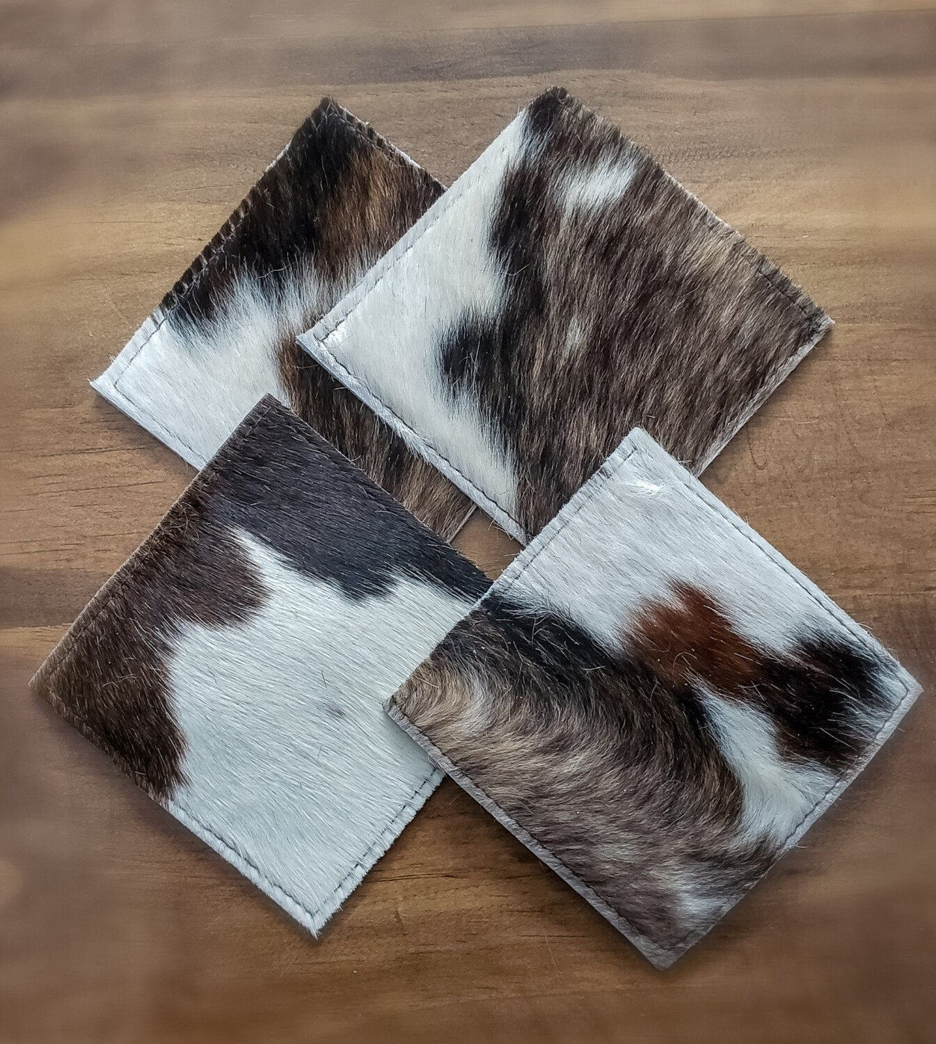 Square Cowhide Coaster Set - Set of 4