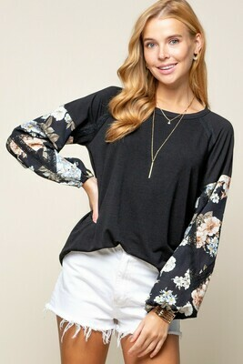 Black & Floral Long Sleeve