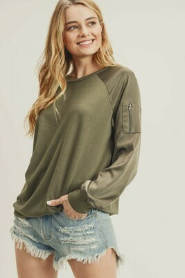 Olive Bomber Sweatshirt
