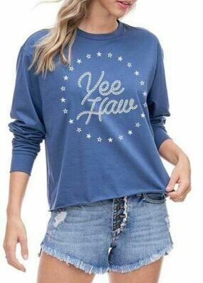 Blue 'Yee Haw' Cropped Long Sleeve
