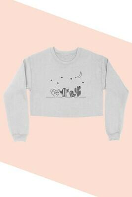 Heather Grey Cactus Crop Sweatshirt
