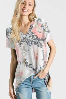 Charcoal & Pink Floral Tee