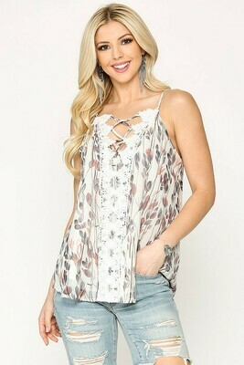 Ivory Floral Strap Lace Tank