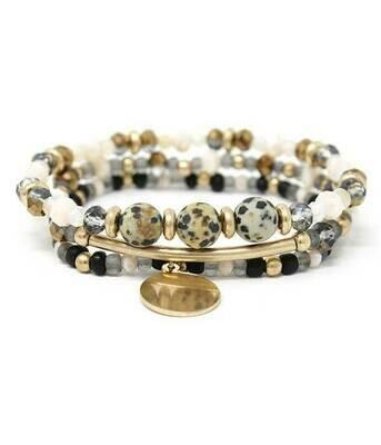 3 - Black & Ivory Beads & Charm Stretch
