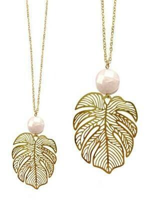 Leaf & Stone Gold Long Pendant