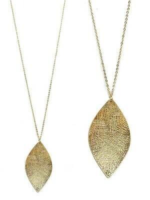 Gold Metal Leaf Long Pendant