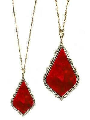 Gold & Red Stone Pendant Long Necklace