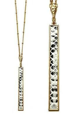 Gold & Snakeskin Bar Long Necklace