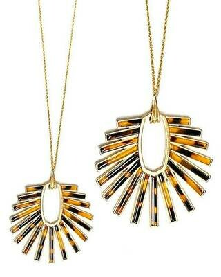 Gold Animal Print Pendant Long Necklace