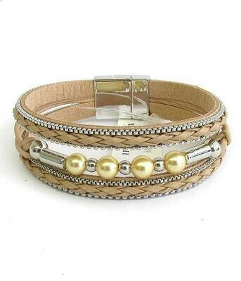 Natural & Silver Woven Multi Layer Magnet