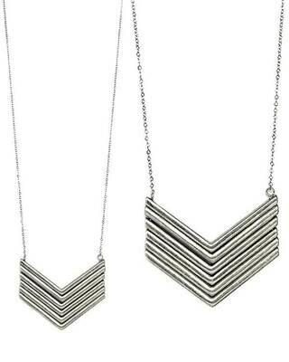 Silver Chevron Long Necklace