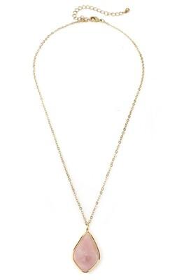 Gold & Rose Stone Pendant Necklace