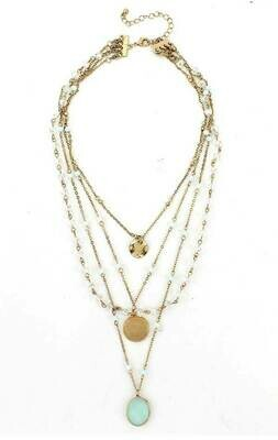 Gold Multi Layer Chain & Charm Necklace