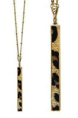 Gold & Leopard Bar Pendant Long Necklace