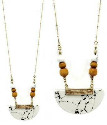 Gold & Stone Half Moon Beads Long Necklace