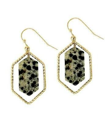 Gold Hexa Metal & Spotted Stone Earrings
