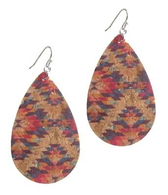 Aztec Cork Teardrop Earrings