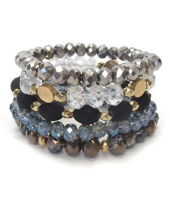 5 - Black, Clear & Blue Mixed Stone Stretch