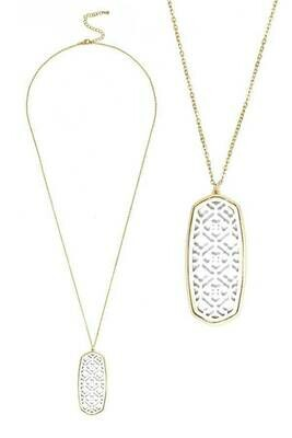 Gold & White Filigree Long Necklace