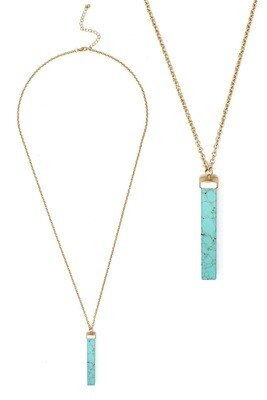 Gold & Turquoise Stone Bar Long Necklace