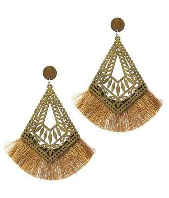 Wood & Fringe Tassel Earrings