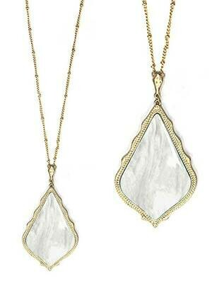 Gold & White Stone Pendant Long Necklace