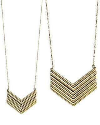 Gold Chevron Long Necklace