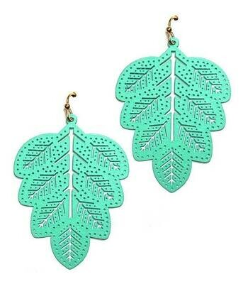 Turquoise Rubber Plated Leaf Earring