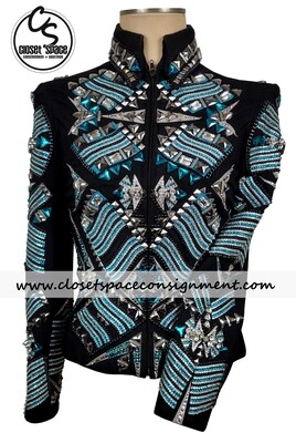 'Just Pam' Black, Turquoise & Silver Jacket