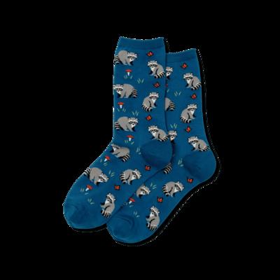 Teal Raccoon Crew Socks