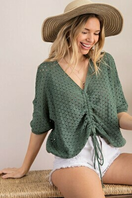 Green V-Neck Ruched Crop Sweater Tee