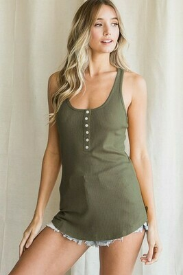 Olive Button Ribbed Tank