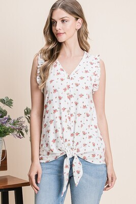 Ivory Floral Button Tie Tank