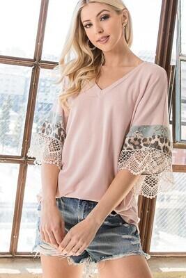 Blush Lace Half Sleeve Top