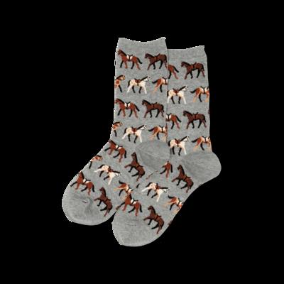 Gray Horses Crew Socks