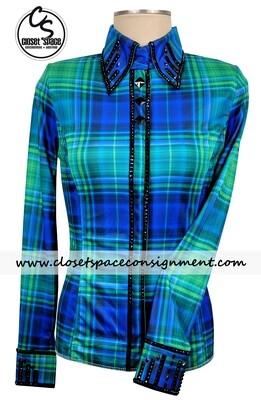 'Signature Styles' Blue & Green Plaid Shirt - NEW