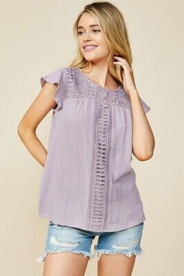 Violet Crochet Cap Sleeve Tee