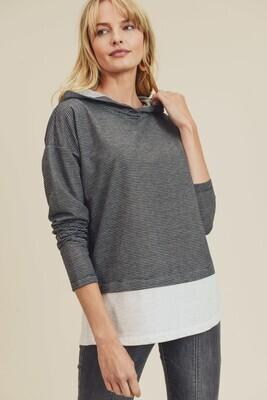 Black & Grey Stripe Color Block Long Sleeve Hoodie