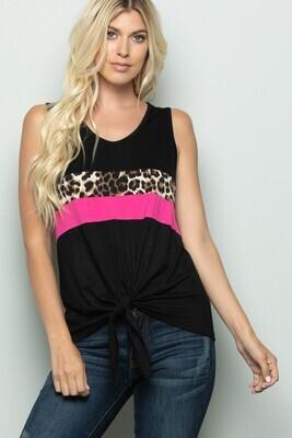 Black, Pink & Leopard Tie Tank