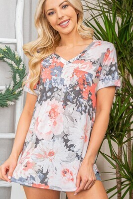 Charcoal & Coral Floral Pocket Tee