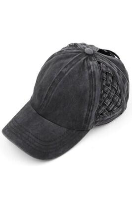Black Weave Pony Cap