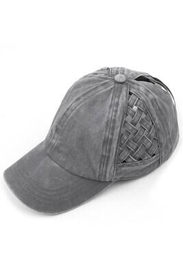Gray Weave Pony Cap
